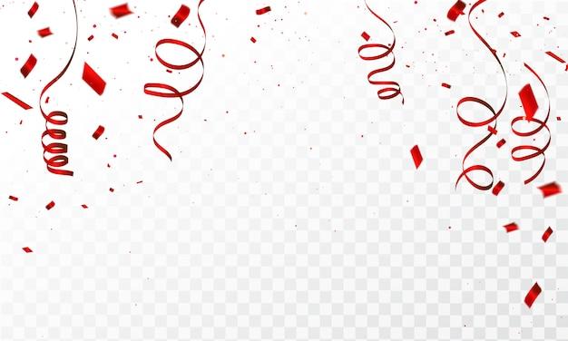 Fondo con confeti rojo celebración cintas de carnaval