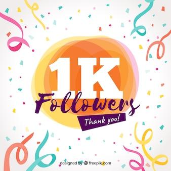Fondo de confeti y serpentina de celebración de 1k de seguidores