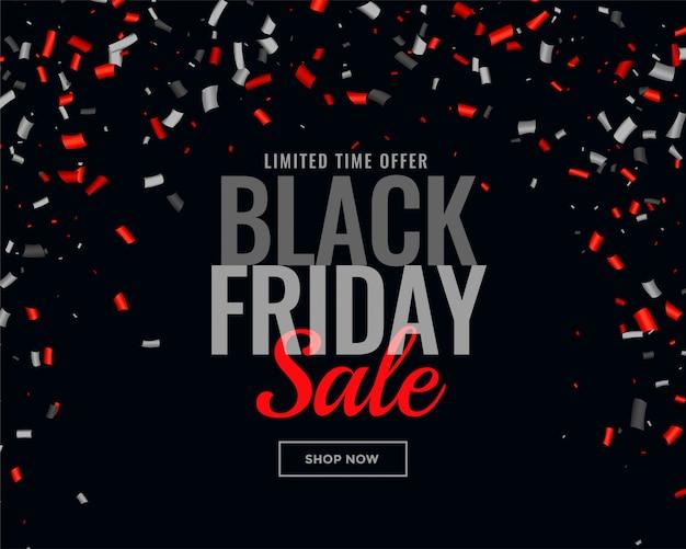 Fondo de confeti venta de viernes negro abstracto