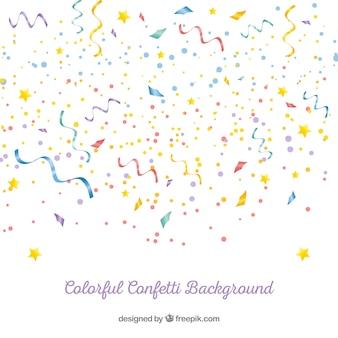 Fondo de confetti colorido en estilo realista