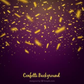 Fondo de confetti dorado y brillante