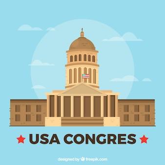 Fondo de congreso de los estados unidos en estilo plano