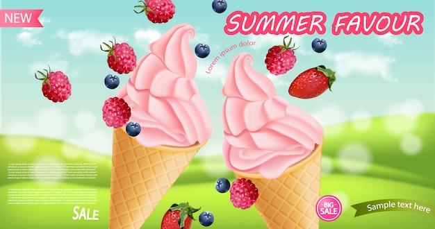 Fondo de cono de helado de fresa
