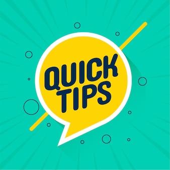 Fondo de consejos de consejos útiles rápidos