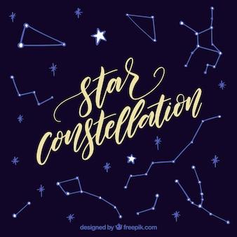 Fondo de constelación de estrellas con lettering