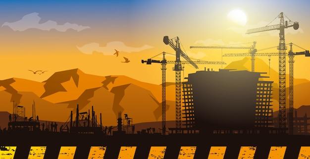 Fondo de construcción, gráficos de información de construcción, diseño de portada de libro.