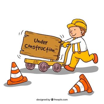 Fondo en construcción hecho  a mano