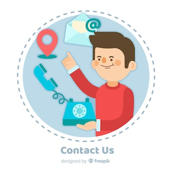 Fondo contacta con nosotros diseño plano