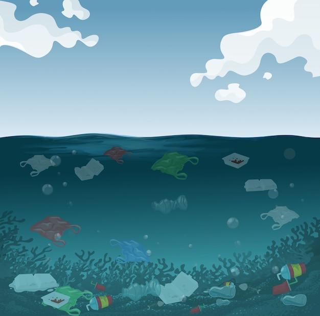 Un fondo de contaminación marina.