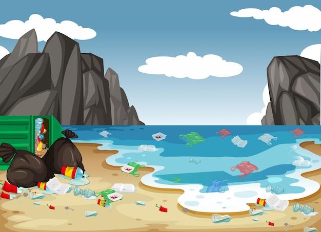 Un fondo de contaminación de playa sucia