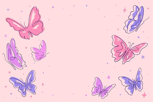 Fondo de contorno de mariposa dibujada a mano