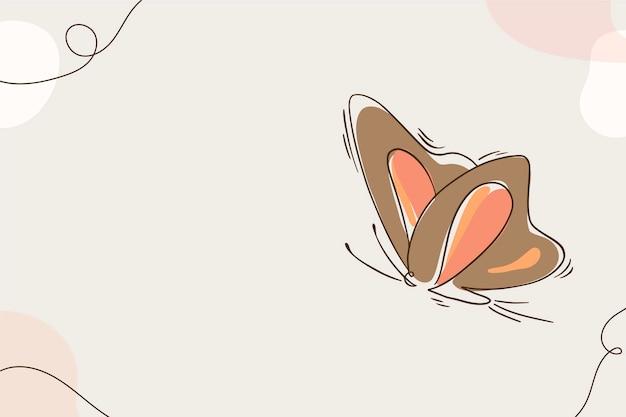 Fondo de contorno de mariposa plana lineal