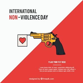 Fondo contra la violencia de pistola con banderín de corazón