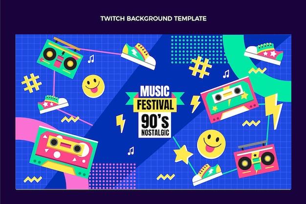 Fondo de contracción del festival de música de los años 90 de diseño plano