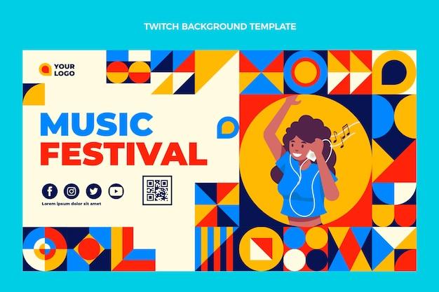 Fondo de contracción del festival de música de mosaico de diseño plano