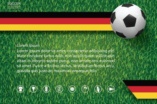 Fondo de la copa de fútbol del campeonato mundial. fondo de imagen de equipo nacional con balón de fútbol en textura y patrón de hierba verde.