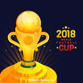 Fondo de copa de fútbol con trofeo dorado