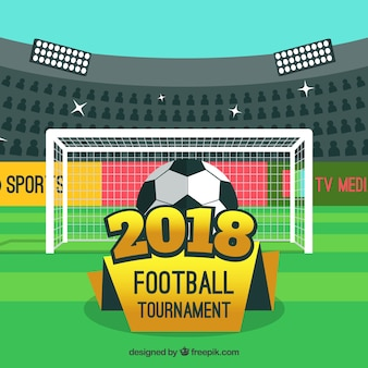 Fondo de copa mundial de fútbol 2018 en estilo plano
