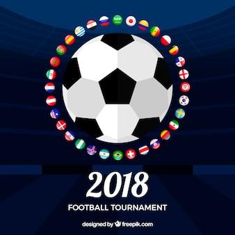 Fondo de copa mundial de fútbol con balón