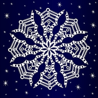 Fondo de copo de nieve dibujado a mano