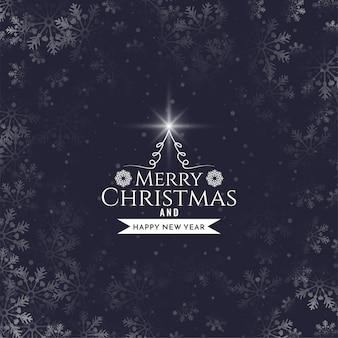 Fondo de copos de nieve de diseño de texto de feliz navidad