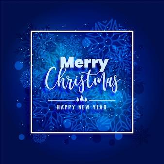 Fondo de copos de nieve feliz navidad azul hermoso