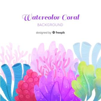 Fondo coral acuarela colorido