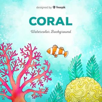 Fondo coral acuarela