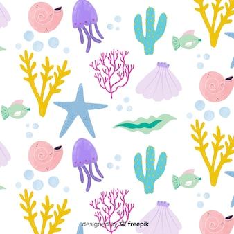 Fondo coral color pastel dibujado a mano
