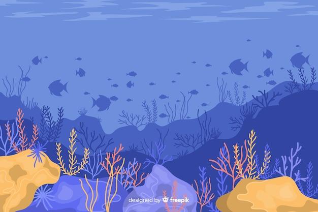 Fondo coral dibujado a mano