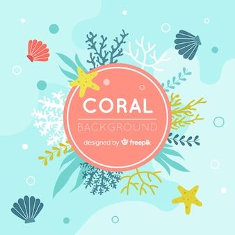 Fondo de coral en diseño plano