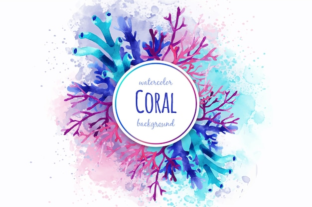 Fondo de corales en acuarela