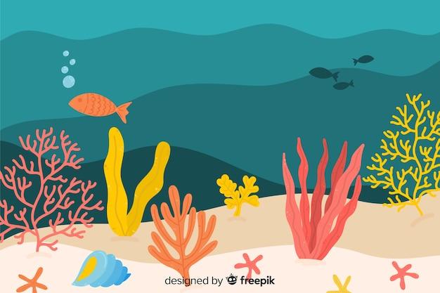Fondo de corales dibujado a mano