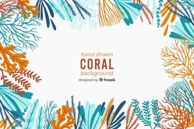 Fondo de corales dibujados a mano