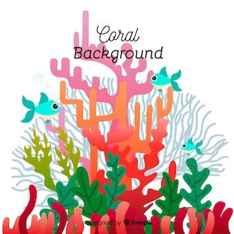 Fondo de corales en diseño plano