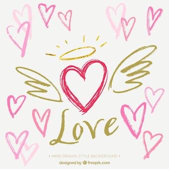Fondo de corazón con alas dibujado a mano