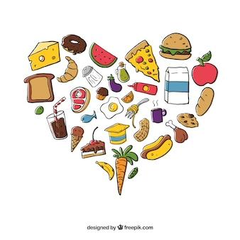 Fondo de corazón con alimentos dibujados a mano