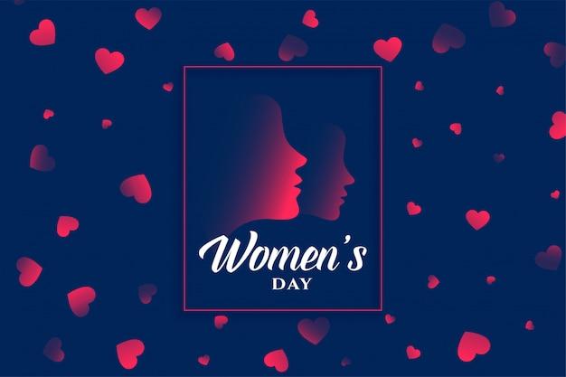 Fondo del corazón y la cara del día de la mujer