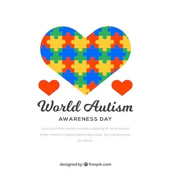 Fondo de corazón colorido de piezas de puzzle