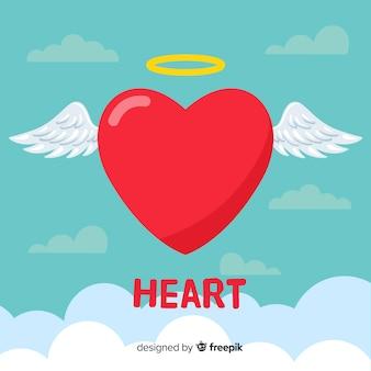 Fondo de corazón en diseño plano
