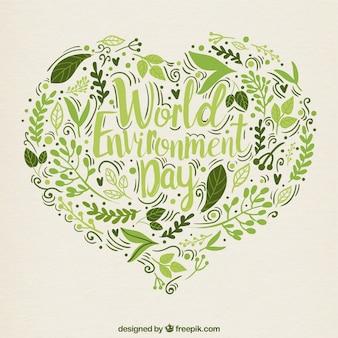 Fondo de corazón de hojas dibujadas a mano