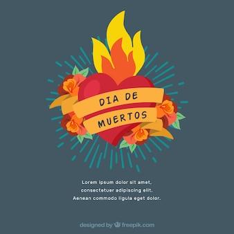 Fondo de corazón en llamas del día de muertos