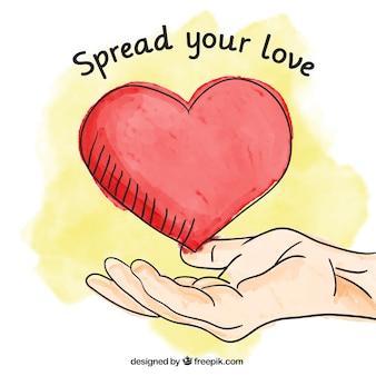 Fondo de corazón y mano dibujado a mano