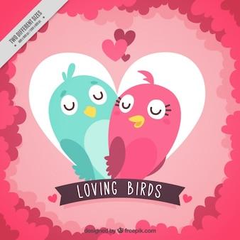 Fondo de corazón con pájaros enamorados