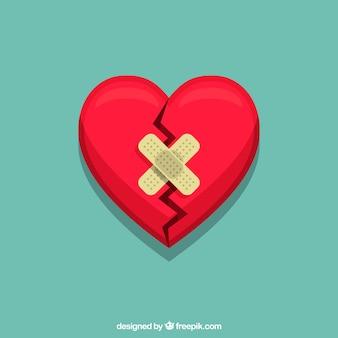 Fondo de corazón plano aislado