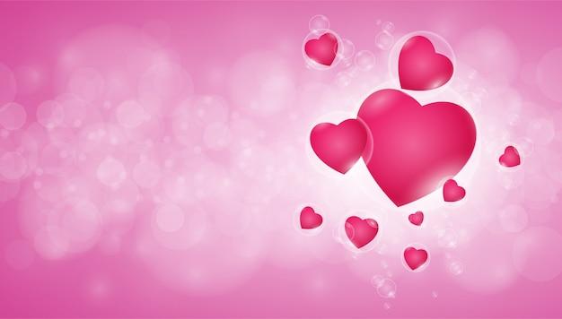 Fondo de corazón rosa bokeh