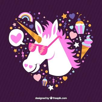 Fondo de corazón  y unicornio con gafas de sol