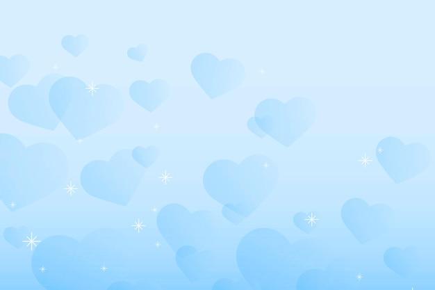 Fondo de corazones azul brillo abstracto