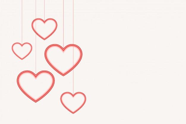 Fondo de corazones colgantes con espacio de texto