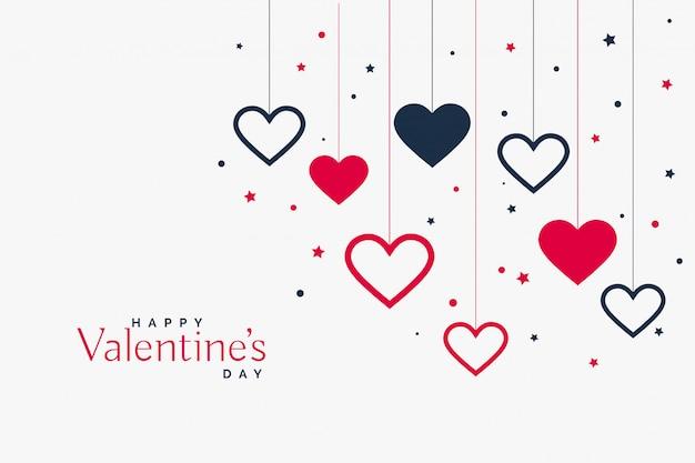 Fondo de corazones colgantes con estilo para el día de san valentín